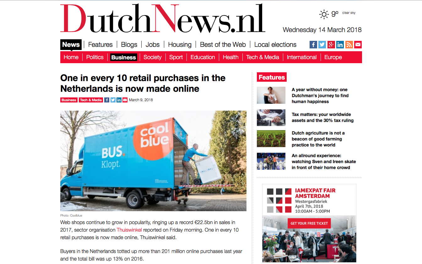 One in every 10 retail purchases in the Netherlands is now made online