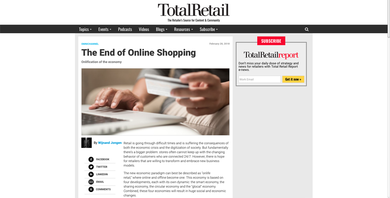 Total Retail Article – Onlification of the Economy