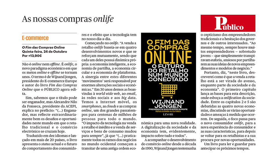 Público Portugal – Article Portugese Edition 'The End of Online Shopping'