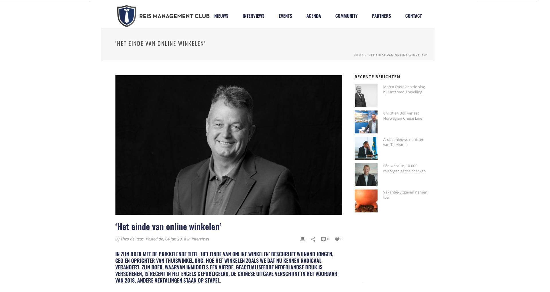 Interview Reis Management Club – Het Einde van Online Winkelen