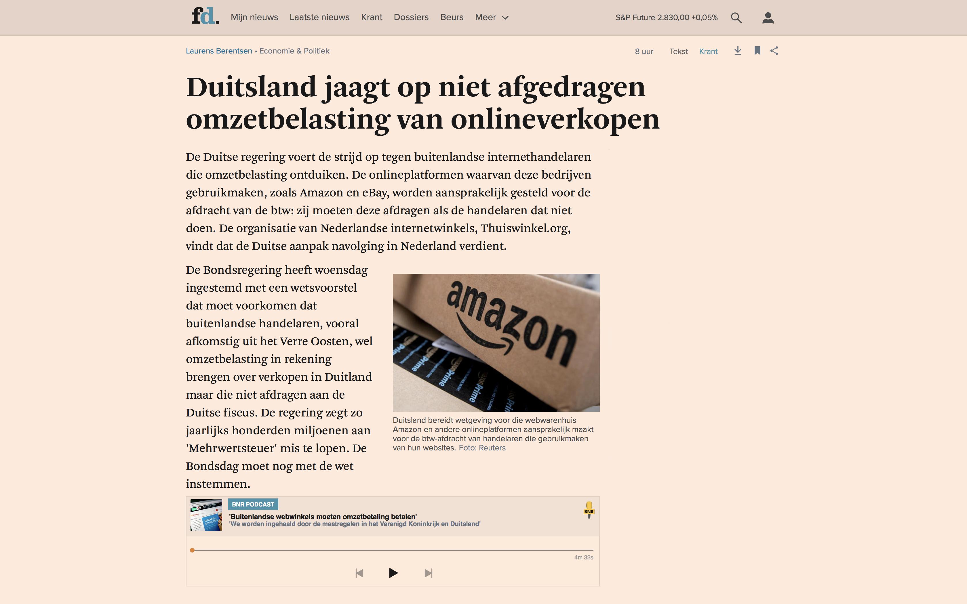Duitsland jaagt op niet afgedragen omzetbelasting van onlineverkopen – Artikel FD