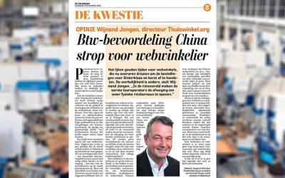 De Telegraaf – De Kwestie: Btw-bevoordeling China strop voor webwinkelier